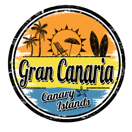 Illustration for Gran Canaria grunge stamp on white background, vector illustration - Royalty Free Image