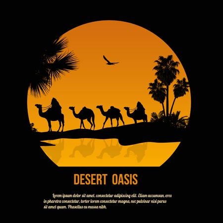 Illustration pour Desert oasis theme poster design, vector illustration - image libre de droit