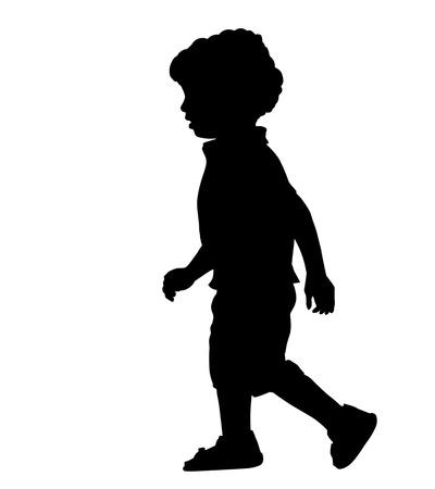 Ilustración de A little boy silhouette on white background, vector illustration - Imagen libre de derechos