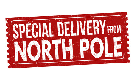 Illustration pour Special delivery from North Pole grunge rubber stamp on white background, vector illustration - image libre de droit