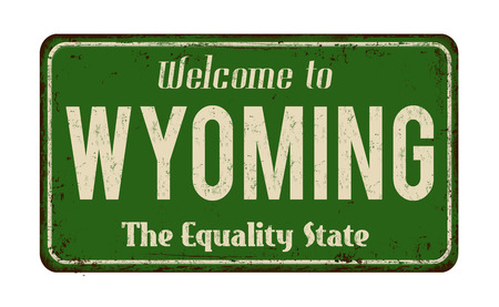 Illustration pour Welcome to Wyoming vintage rusty metal sign vector illustration. - image libre de droit