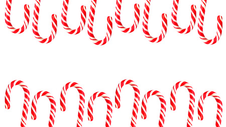 Foto de Double border with Christmas candy canes on white background - Imagen libre de derechos