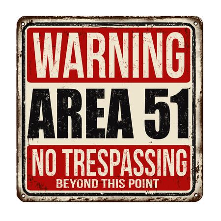 Illustration pour Warning Area 51 vintage rusty metal sign on a white background, vector illustration - image libre de droit