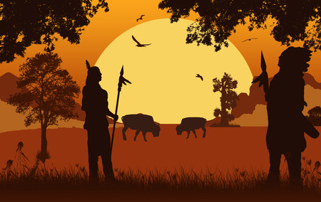 Illustration for Native american indian silhouettes on beautiful orange sunset, vector illustration - Royalty Free Image