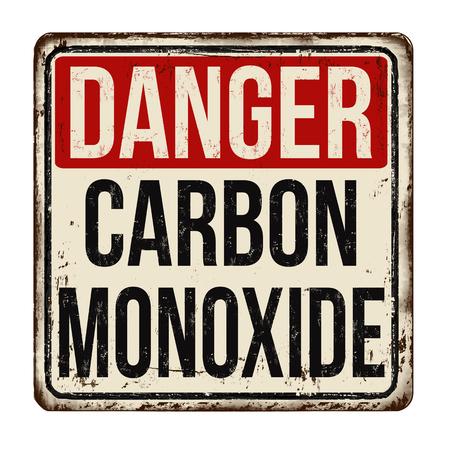 Illustration pour Danger carbon monoxide vintage rusty metal sign on a white background, vector illustration - image libre de droit