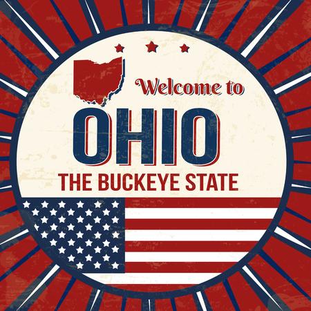Illustration pour Welcome to Ohio vintage grunge poster, vector illustrator - image libre de droit
