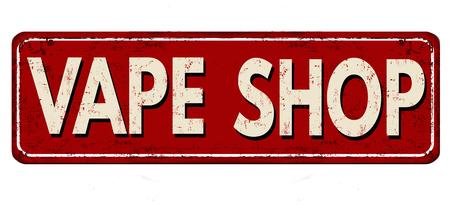 Illustration pour Vape shop vintage rusty metal sign on a white background, vector illustration - image libre de droit