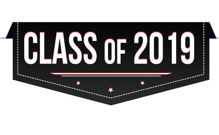Illustration pour Class of 2019 banner design on white background, vector illustration - image libre de droit