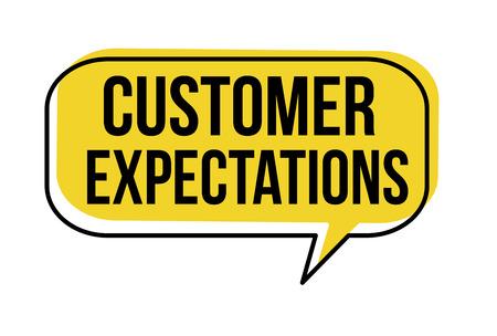 Ilustración de Customer expectations speech bubble on white background, vector illustration - Imagen libre de derechos