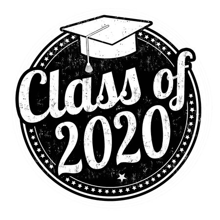 Illustration for Class of 2020 grunge rubber stamp on white, vector illustration - Royalty Free Image