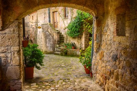 Foto de Narrow street of medieval tuff city Sorano with arch, green plants and cobblestone, travel Italy background - Imagen libre de derechos
