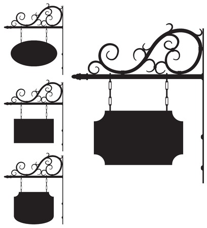 Illustration pour Vector wrought iron outline signs for old-fashioned design - image libre de droit