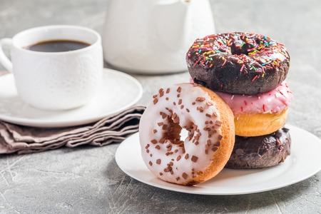 Photo for Fast food breakfast with donut - Royalty Free Image