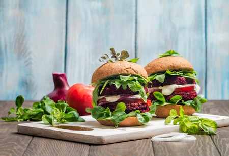 Photo for Vegetarian burger made of beetroot - Royalty Free Image