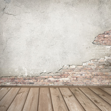 Foto de plastered brick wall and wood interior background texture - Imagen libre de derechos