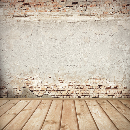 Photo pour urban background, red brick wall texture bright plastered wall and wooden floor  abandoned interior grunge background for your concept or project - image libre de droit