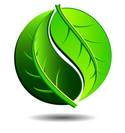 Green Logo concept using Yin Yang Symbol in a leaf design