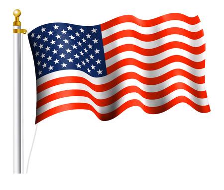 Illustration for American Flag on Flag Pole - Royalty Free Image