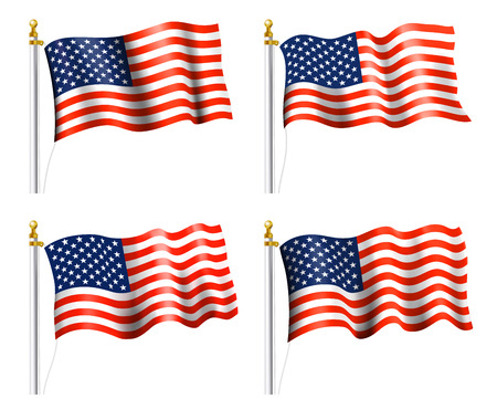 Illustration for American Flags on Flag Poles - Royalty Free Image