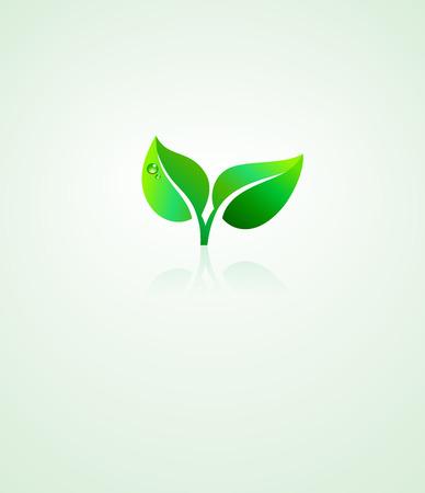 Ilustración de Stylized Green Leaf Design Environmental Background - Imagen libre de derechos