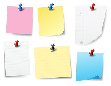 Illustration pour Pinned Paper Notes - Post it, Labels, - image libre de droit