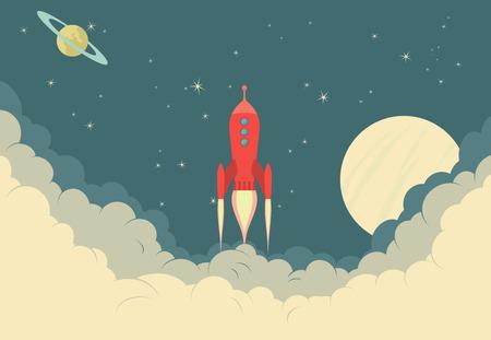 Ilustración de Retro Rocket Spaceship - Imagen libre de derechos