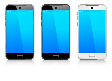 Illustration pour Phone Cell Smart Mobile black, white and silver - image libre de droit