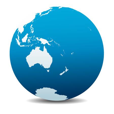 Illustration for Australia and New Zealand, Global World - Royalty Free Image