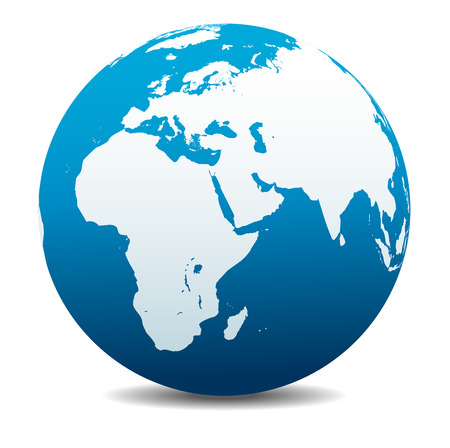 Illustration for Africa, Middle East, Arabia and India Global World - Royalty Free Image
