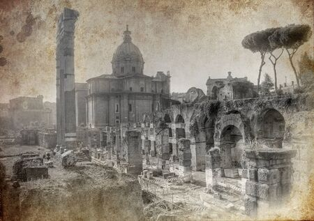 Photo for Old postcard from Rome - artistic version  - Royalty Free Image