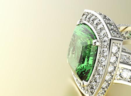 Photo pour Ring with Diamond. Jewelry background. Emerald - image libre de droit