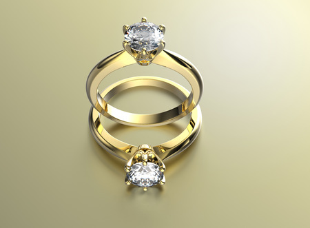 Photo for Golden Engagement Rings with Diamond - Royalty Free Image