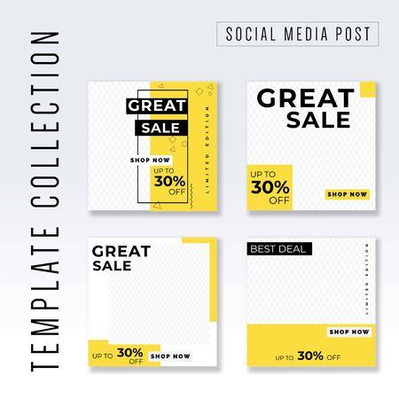 Illustration pour Template collection Social Media post, instagram post template collection, awesome promotional banner design vector - image libre de droit