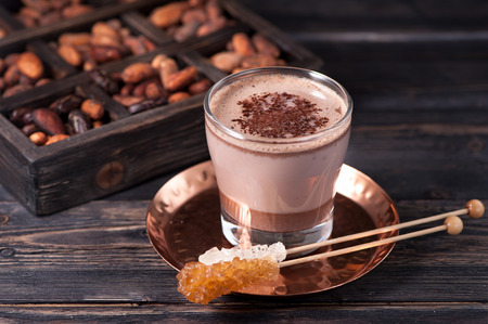 Photo for cocoa drink or hot chocolate and cocoa beans - Royalty Free Image