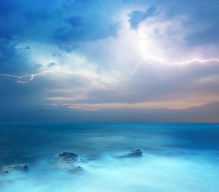 Photo for Rocks and sea storm. Dramatic scene. Composition of nature - Royalty Free Image