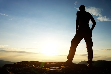 Photo for Silhouette of man in mountain. Conceptual scene. - Royalty Free Image