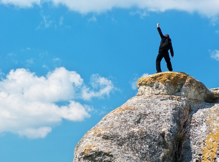Photo pour Man on top of mountain. Conceptual design.  - image libre de droit