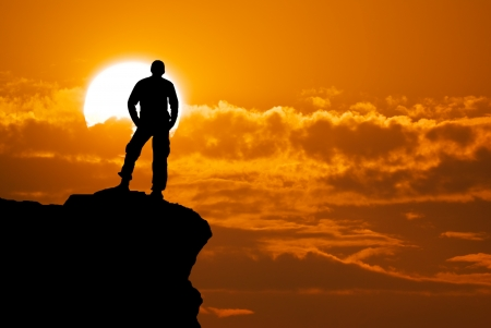 Photo for Man on top of mountain  Conceptual design  - Royalty Free Image
