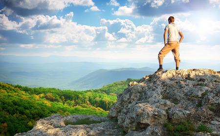 Photo pour Man on top of mountain. Element of design. - image libre de droit