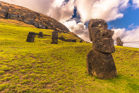 Photo for Ranu Raraku, Easter Island - July 10, 2017: Moai statues of Ranu Raraku, Easter Island - Royalty Free Image