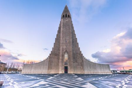 Photo for Hallgrimskirkja church in the center of Reykjaivk, Iceland - Royalty Free Image