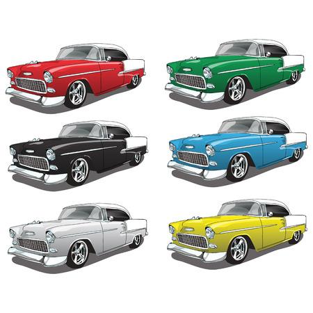 Ilustración de Vintage Classic Car in multiple colors - Imagen libre de derechos
