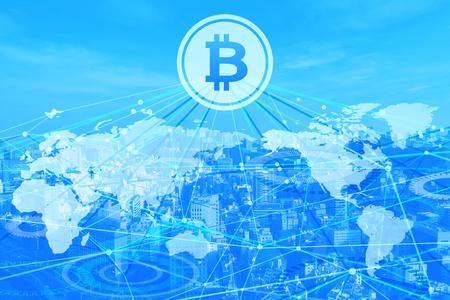 Photo pour bitcoin network world - image libre de droit