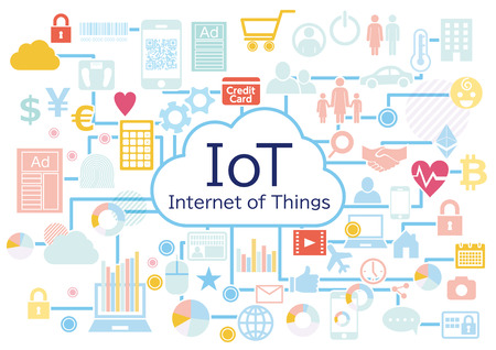 Photo for Iot business connected icon set white background - Royalty Free Image