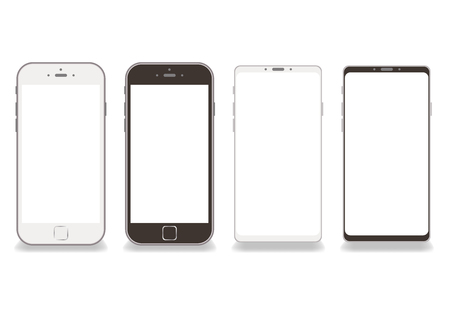 Illustration pour Black and white smartphone frame vector White background-Copy space on screen - image libre de droit