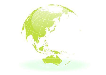 Illustration pour green and white Spherical Earth - image libre de droit