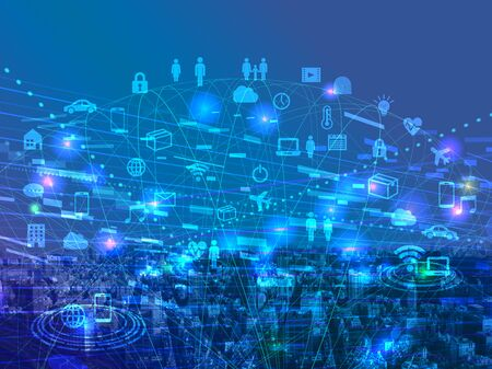 Photo for Digital network-blue cyberspace icon image - Royalty Free Image