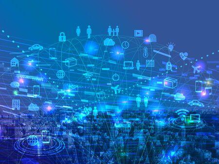 Photo pour Digital network-blue cyberspace icon image - image libre de droit