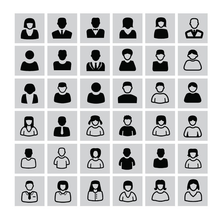 vector black people icons set on white