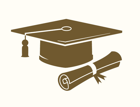 vector graduation cap and diploma icon on beige